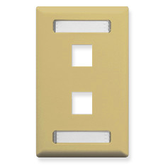 FACEPLATE, ID, 1-GANG, 2-PORT, IVORY