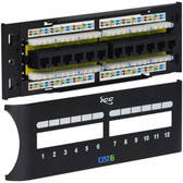 PATCH PANEL, CAT 6 FRONT, 12 PORT