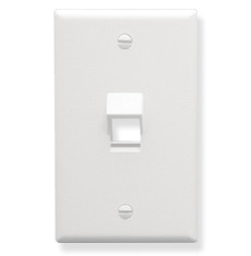 ICC FACEPLATE, ANGLED, 1-GANG, 1-PORT, WHITE IC107DA1WH