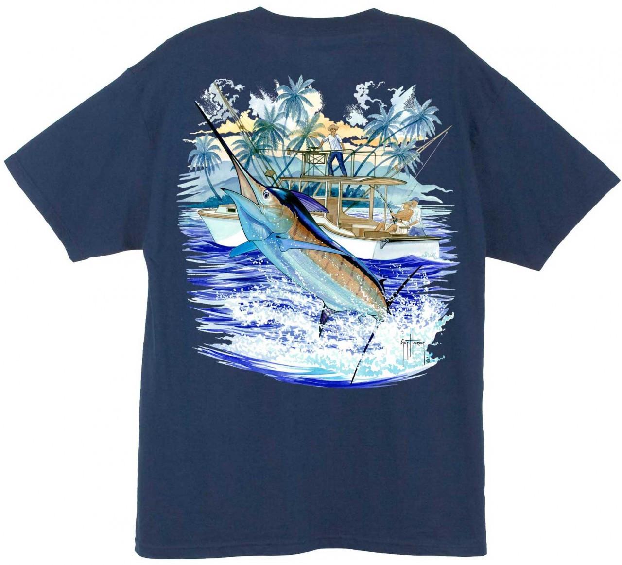 Guy Harvey Marlin Boat 2 Back Print T Shirt