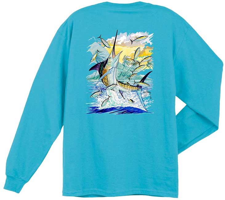 Guy Harvey Island Marlin Long Sleeve Back Print T Shirt