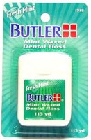Butler Mint Waxed Dental Floss - Fresh Mint - 115yds