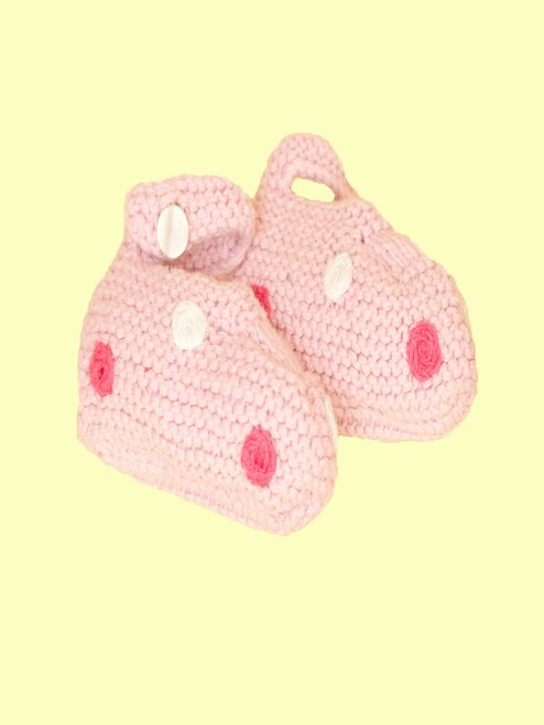 Pale Pink Spot Booties - Fair Trade
