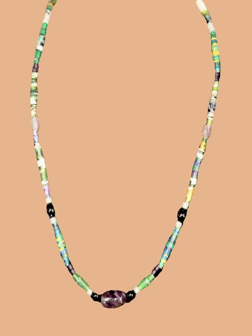 Earth Tone Single Strand Necklace - Eco Beads