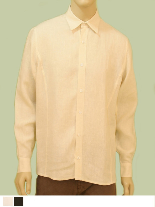 Men's Long Sleeve Button Down Shirt - Hemp/Flax