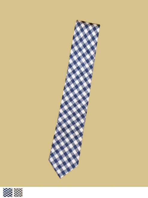 Narrow Linen Tie Check - Organic Cotton