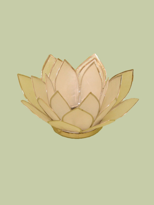 Natural with Silver Small Lotus Tea Light Holder