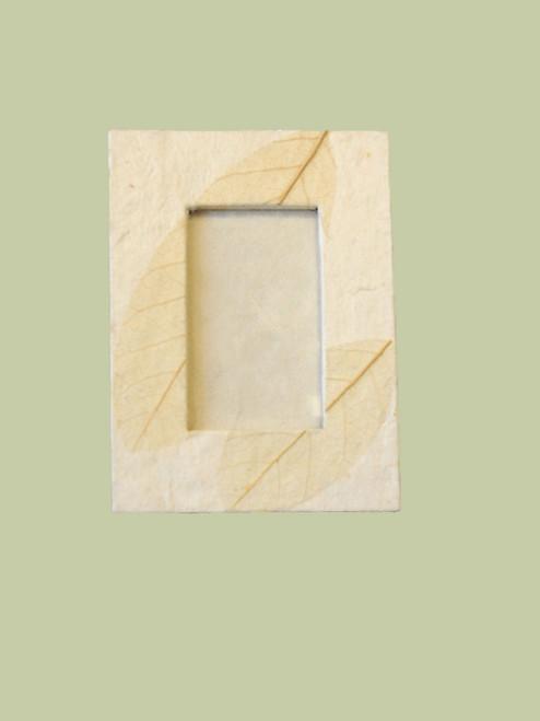 3 x 4 Natural, Ivory Fossil Leaf Photo Frame - Fair Trade