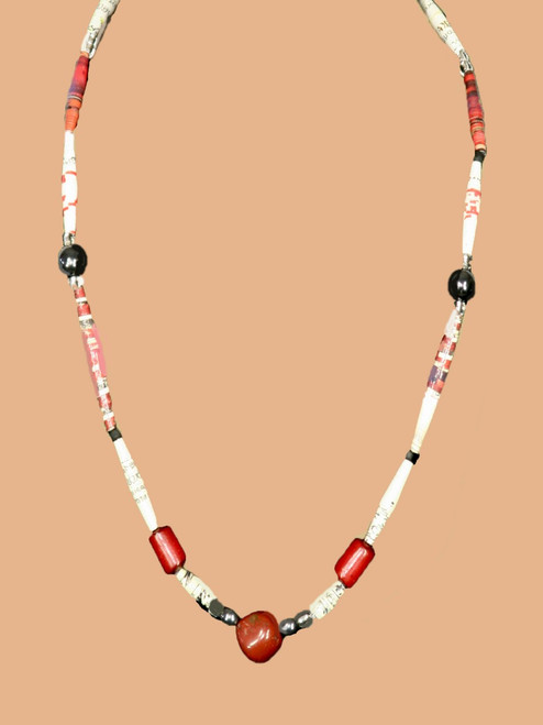 Red Rectangular Stone Single Strand Necklace - Eco Beads