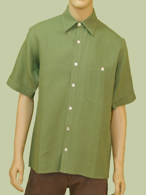 Men's Short Sleeve Button Down Shirt - Hemp / Flax