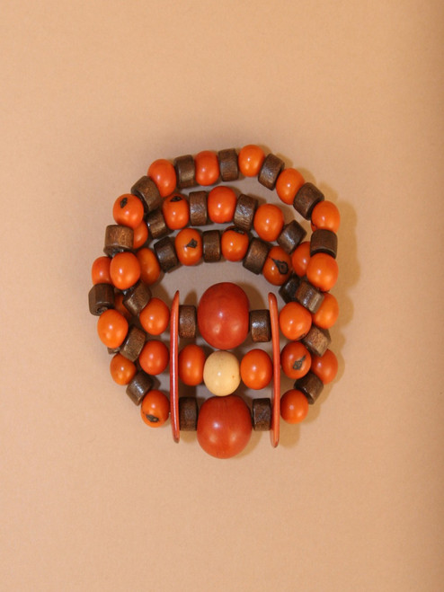 Orange and Brown Tagua & Wood Beads Bracelet