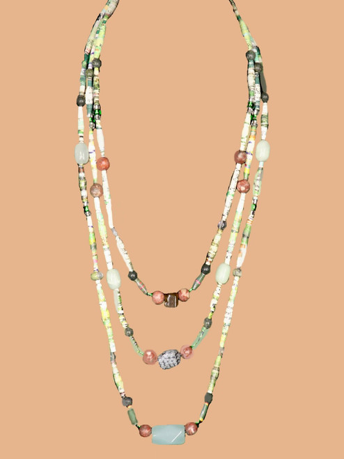 Earth Multicolored Triple Strand Necklace - Eco Beads