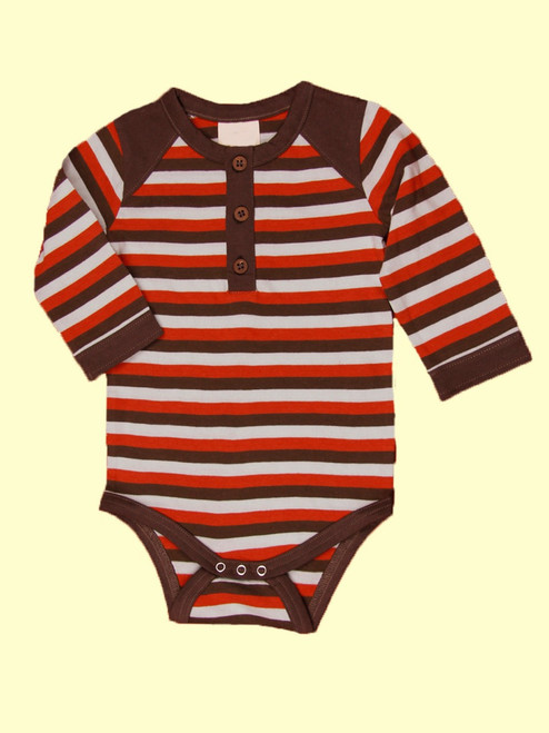 Tri-Stripe Long Sleeve Henley Onesie . Organic Cotton - Fair Trade