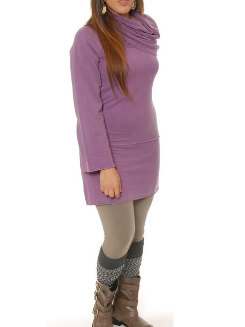 Natural Organic Mod Tunic Dress . Bamboo Rayon & Organic Cotton - Fair Trade