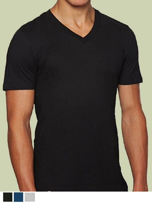 Men's V-Neck  Shirt - Organic Cotton & Recycled Polyester