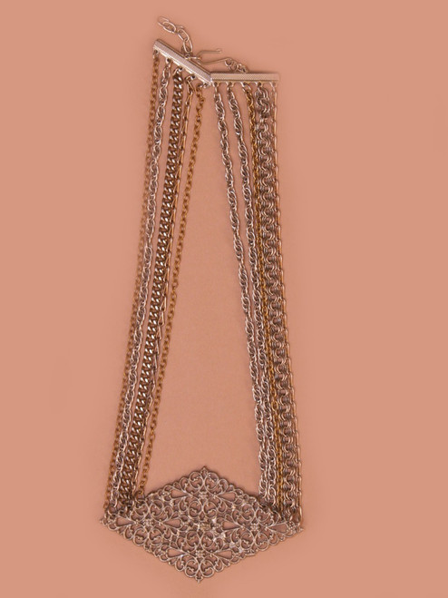 Ten Multi-Chain Short Necklace - Vintage Recycled Metal
