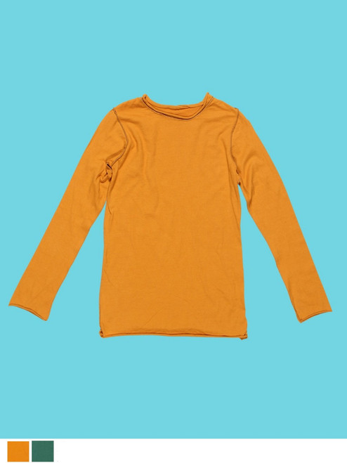 Boys Long Sleeve Plain  T-Shirt - Organic Cotton Jersey