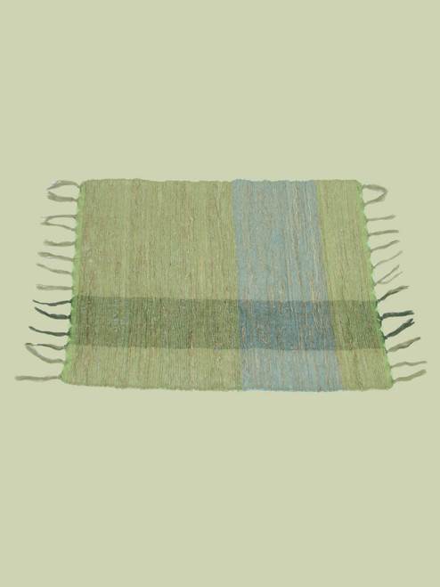 Green Blocks Vetiver Placemat . Set of 6 - Fair Trade
