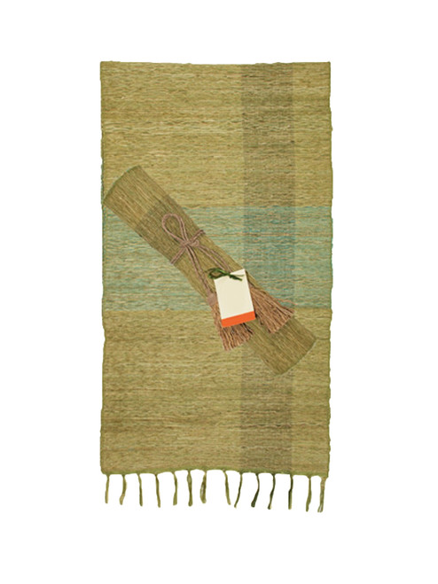 Green Blocks Vetiver Table Runner - Fair Trade
