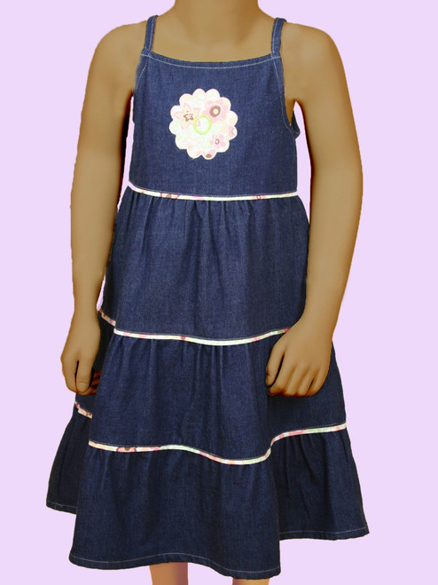 3 Tier Denim Dress . Organic Cotton - Fair Trade