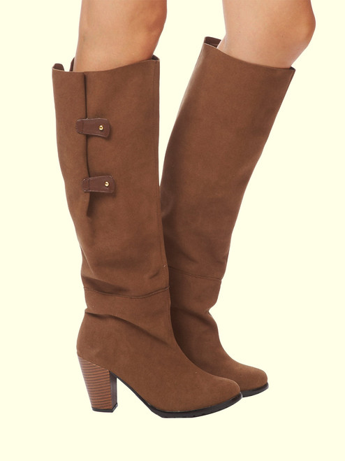 Isabel Recycled Vegan Ultrasuede Wrap Boot - Brown