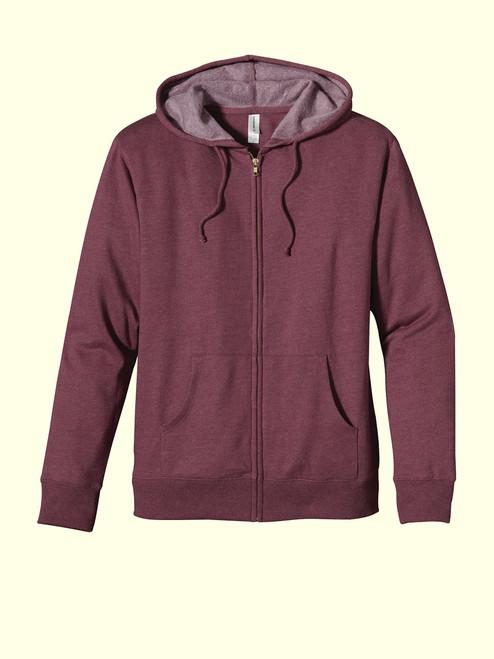 Unisex Full-Zip Hoody  - Organic/Recycled Heathered Fleece