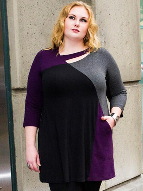 Women's Plus Size Ellipse Tunic in Raisin - Certified Organic Bamboo jersey knit blended