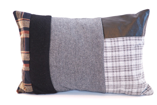 Mountain Cabin Pillow - Recycled Vintage Fabrics