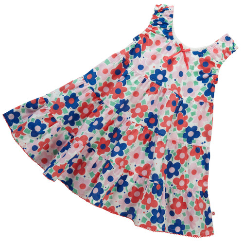 Ditsy Daisy Tiered Dress .  Organic Cotton - Fair Trade