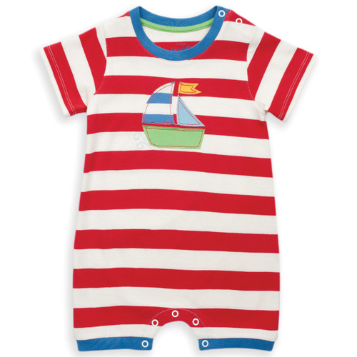 Organic Cotton Baby Stripy Sailing Romper - Fair Trade