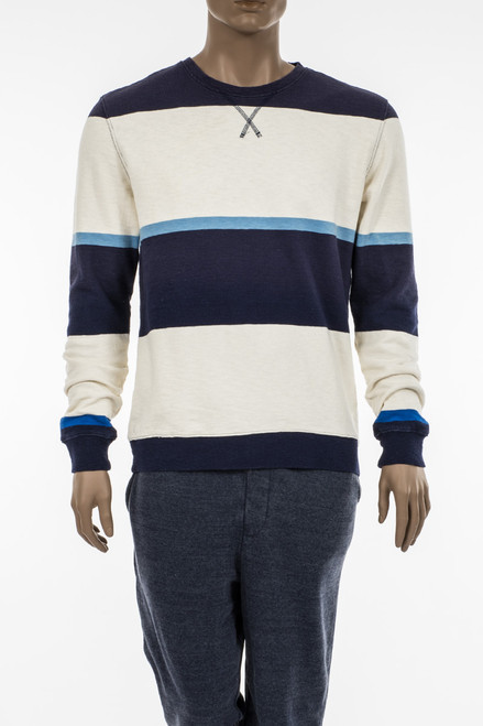 Men's Wide Stripe Terry Crew Sweatshirt - 100% Organic Cotton Terry