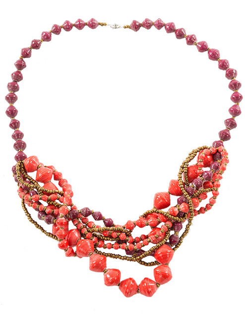 Coral Arroyo Bundle Necklace - Eco Beads