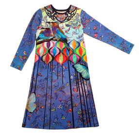 Wild Blue Yonder Girl's long sleeved frock, front view.