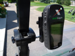 Garmin Golf Logix mounted on EZgo Cart with Caddie Buddy Mount