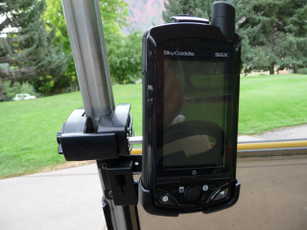 Sky Caddie SGX Holder Mounted to Golf Cart