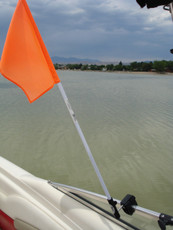 Skier Down Flag Mounted to Boat Window