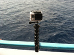 Goose-neck camera mount on boat