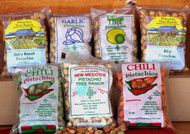 A picture of some of our flavored pistachios in 8 oz. packages.