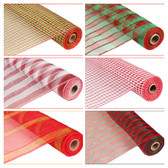 10 rolls of Assorted Christmas Deco Poly Mesh