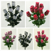 Printed Silk Rose Bud Bushes (27 Pc)