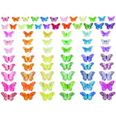 Assorted Bright Butterflies on Wires (144 Pc)