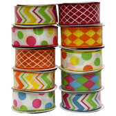 "#9 ""Retro"" Wired Printed Ribbon (10 Pc)"