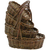 Oval Rustic Willow Baskets (16 Pc)