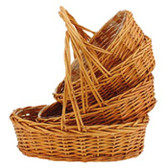 Oval Buff Willow Baskets (16 Pc)