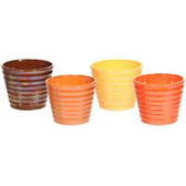 Ribbed Ceramic Pearlized Pots (12 Pc)