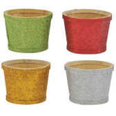 Glitter Woodchip Pots (24 Pc)
