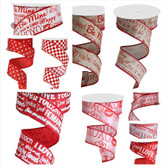 Printed Wired Love Ribbon (10 Pc)