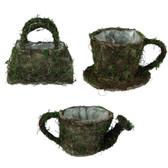 Burlap & Moss Planters (12 Pc)