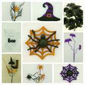 Halloween Sprays, Accessories, and Ribbon (57 Pc)