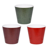 Textured Burgundy, Emerald, and Red Pots (24 Pc)